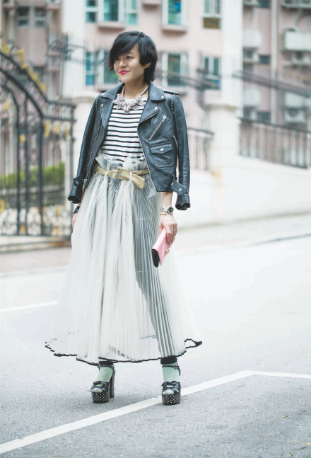 SAINT LAURENT leather jacket COS Stripe top EK Thongprasert X JOYCE necklace TOGA ARCHIVES organza skirt TOPSHOP skinny jeans ROGER VIVIER clutch SAINT LAURENT sandals